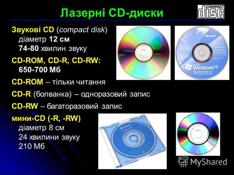 Звукові CD (compact disk) діаметр 12 см 74-80 хвилин звуку CD-ROM, CD-R, CD-RW: 650-700 Мб CD-ROM – тільки читання CD-R (болванка) – одноразовий запис CD-RW – багаторазовий запис мини-CD (-R, -RW) діаметр 8 см 24 хвилини звуку 210 Мб Лазерні CD-диски