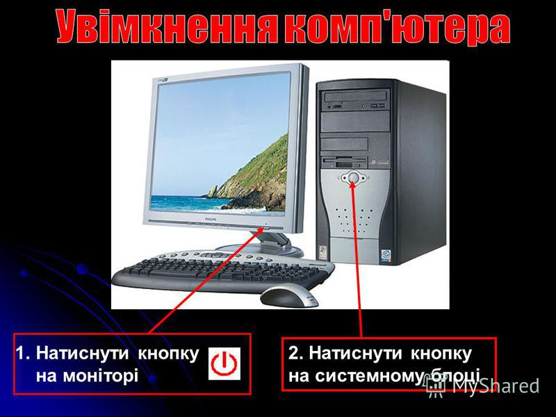 1.Натиснути кнопку на моніторі 2. Натиснути кнопку на системному блоці