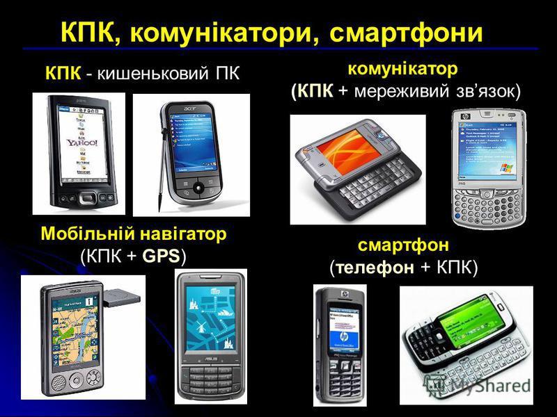 КПК, комунікатори, смартфони Мобільній навігатор (КПК + GPS) КПК - кишеньковий ПК смартфон (телефон + КПК) комунікатор (КПК + мереживий звязок)