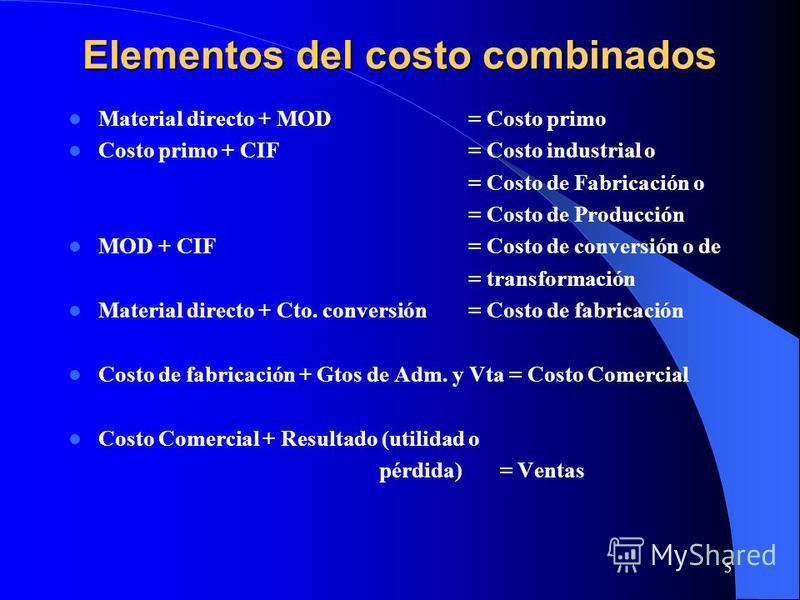 5 Elementos del costo combinados Material directo + MOD= Costo primo Costo primo + CIF= Costo industrial o = Costo de Fabricación o = Costo de Producción MOD + CIF= Costo de conversión o de = transformación Material directo + Cto. conversión= Costo d