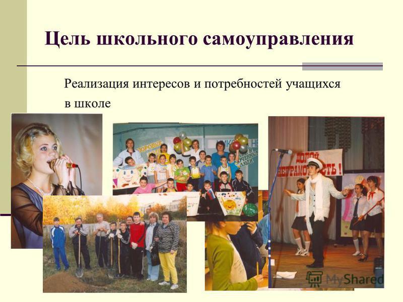 Цель школьного самоуправления Реализация интересов и потребностей учащихся в школе