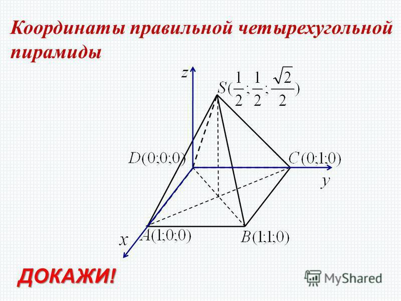 Координаты правильной четырехугольной пирамиды ДОКАЖИ!