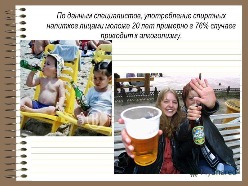 По данным специалистов, употребление спиртных напитков лицами моложе 20 лет примерно в 76% случаев приводит к алкоголизму.