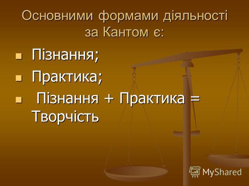 Основними формами діяльності за Кантом є: Пізнання; Пізнання; Практика; Практика; Пізнання + Практика = Творчість Пізнання + Практика = Творчість
