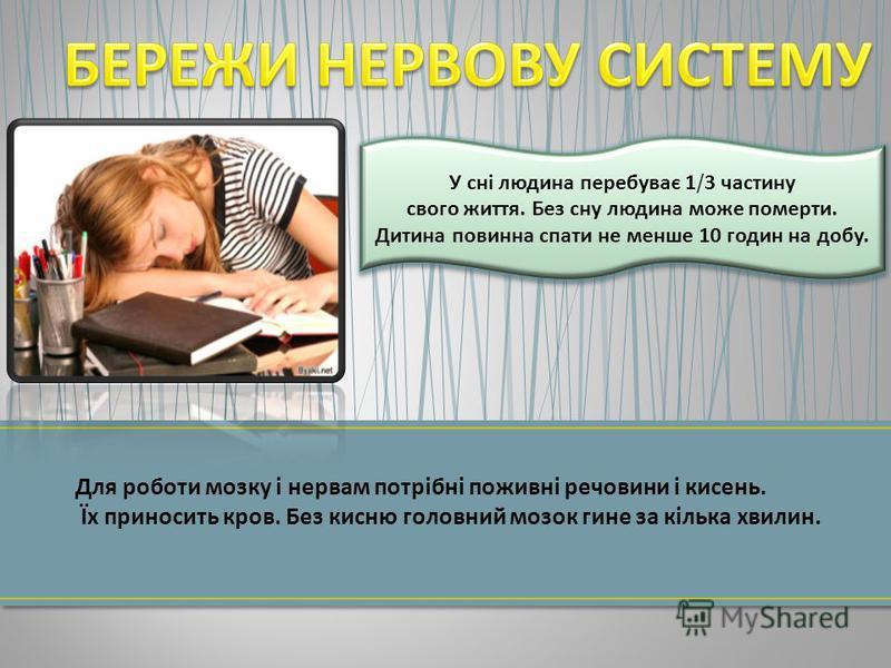 Для роботи мозку і нервам потрібні поживні речовини і кисень. Їх приносить кров. Без кисню головний мозок гине за кілька хвилин. У сні людина перебуває 1/3 частину свого життя. Без сну людина може померти. Дитина повинна спати не менше 10 годин на до