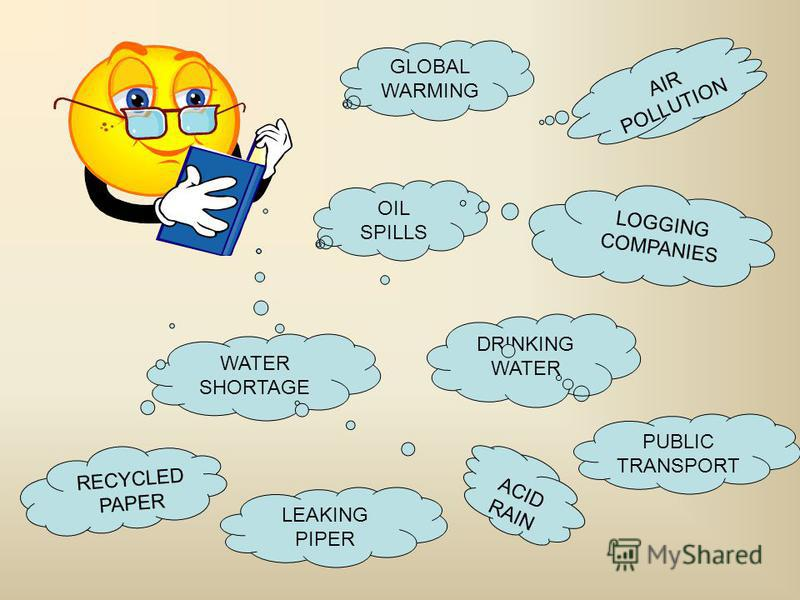 OIL SPILLS AIR POLLUTION DRINKING WATER WATER SHORTAGE LEAKING PIPER GLOBAL WARMING PUBLIC TRANSPORT ACIDRAIN RECYCLED PAPER LOGGING COMPANIES