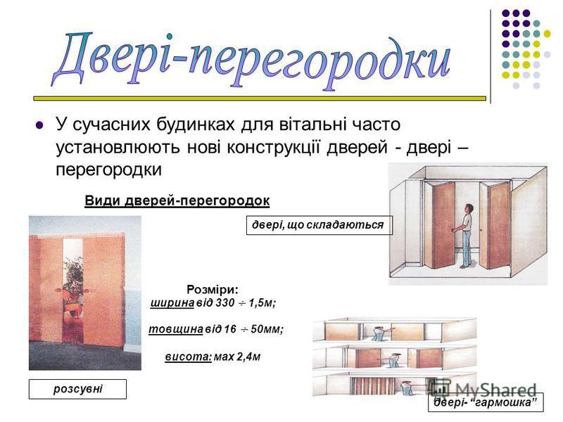 У сучасних будинках для вітальні часто установлюють нові конструкції дверей - двері – перегородки Види дверей-перегородок розсувні двері- гармошка двері, що складаються Розміри: ширина від 330 ÷ 1,5м; товщина від 16 ÷ 50мм; висота: мах 2,4м