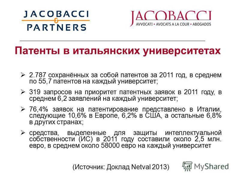 Патенты в итальянских университетах 2.787 сохранённых за собой патентов за 2011 год, в среднем по 55,7 патентов на каждый университет; 319 запросов на приоритет патентных заявок в 2011 году, в среднем 6,2 заявлений на каждый университет; 76,4% заявок