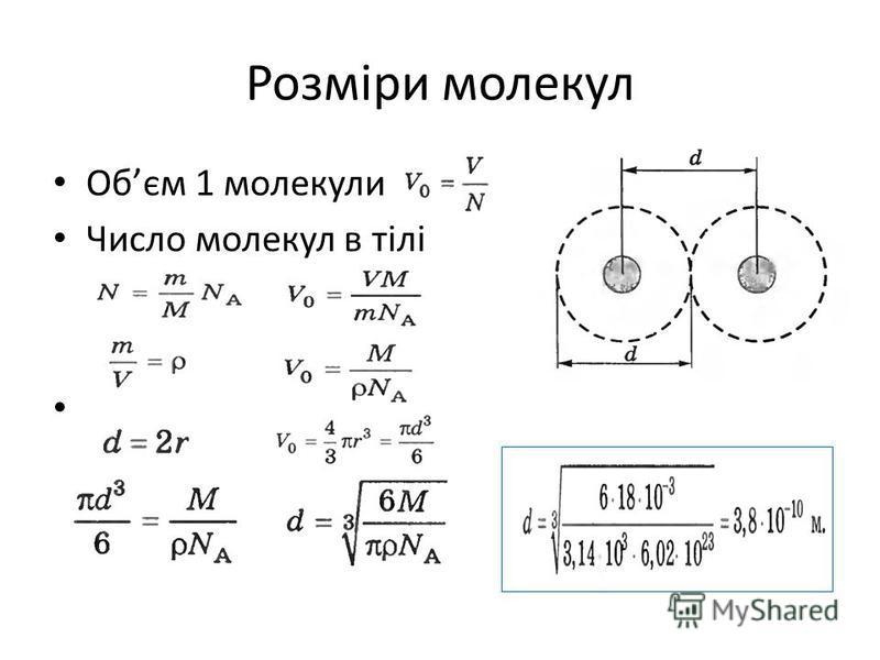 Розміри молекул Обєм 1 молекули Число молекул в тілі