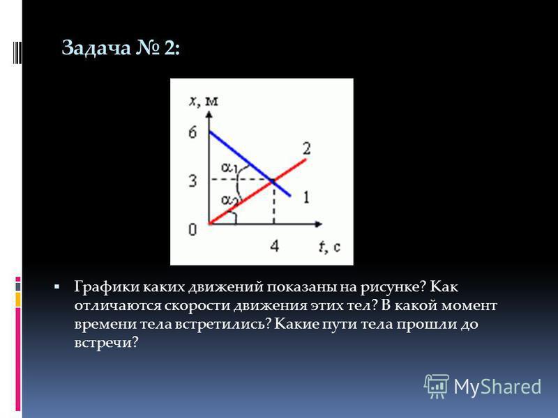 Задача 2: Графики каких движений показаны на рисунке? Как отличаются скорости движения этих тел? В какой момент времени тела встретились? Какие пути тела прошли до встречи?
