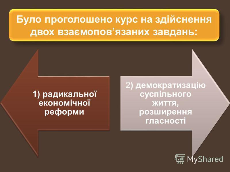 Було проголошено курс на здійснення двох взаємоповязаних завдань: 1) радикальної економічної реформи 2) демократизацію суспільного життя, розширення гласності