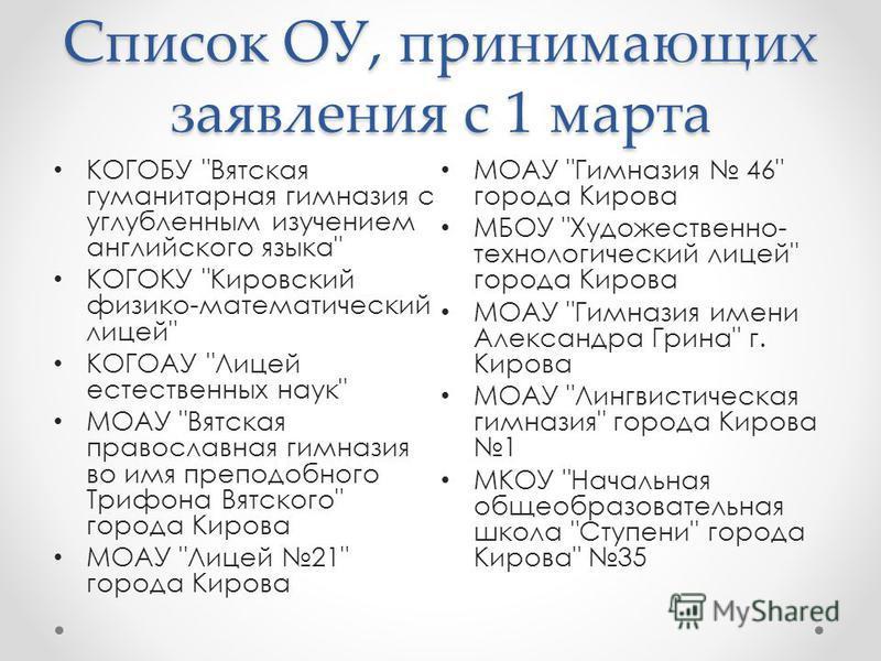 Список ОУ, принимающих заявления с 1 марта КОГОБУ