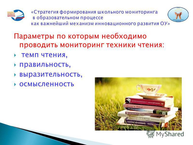 Параметры по которым необходимо проводить мониторинг техники чтения: темп чтения, правильность, выразительность, осмысленность