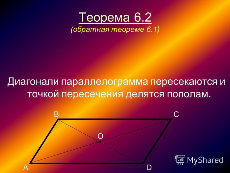 Теорема 6.2 (обратная теореме 6.1) Диагонали параллелограмма пересекаются и точкой пересечения делятся пополам. В АD С О