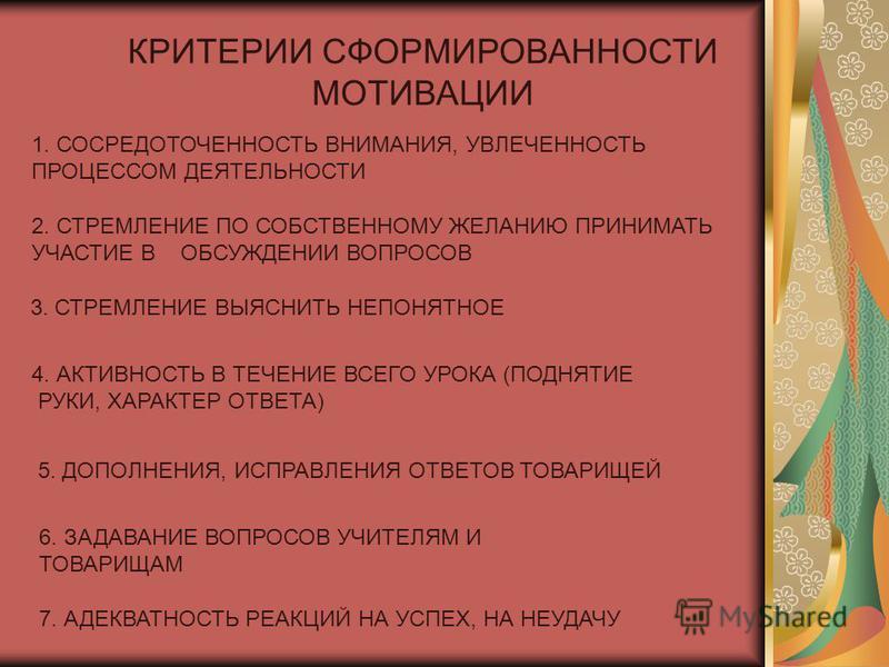 КРИТЕРИИ СФОРМИРОВАННОСТИ МОТИВАЦИИ 1. СОСРЕДОТОЧЕННОСТЬ ВНИМАНИЯ, УВЛЕЧЕННОСТЬ ПРОЦЕССОМ ДЕЯТЕЛЬНОСТИ 2. СТРЕМЛЕНИЕ ПО СОБСТВЕННОМУ ЖЕЛАНИЮ ПРИНИМАТЬ УЧАСТИЕ В ОБСУЖДЕНИИ ВОПРОСОВ 3. СТРЕМЛЕНИЕ ВЫЯСНИТЬ НЕПОНЯТНОЕ 4. АКТИВНОСТЬ В ТЕЧЕНИЕ ВСЕГО УРОКА