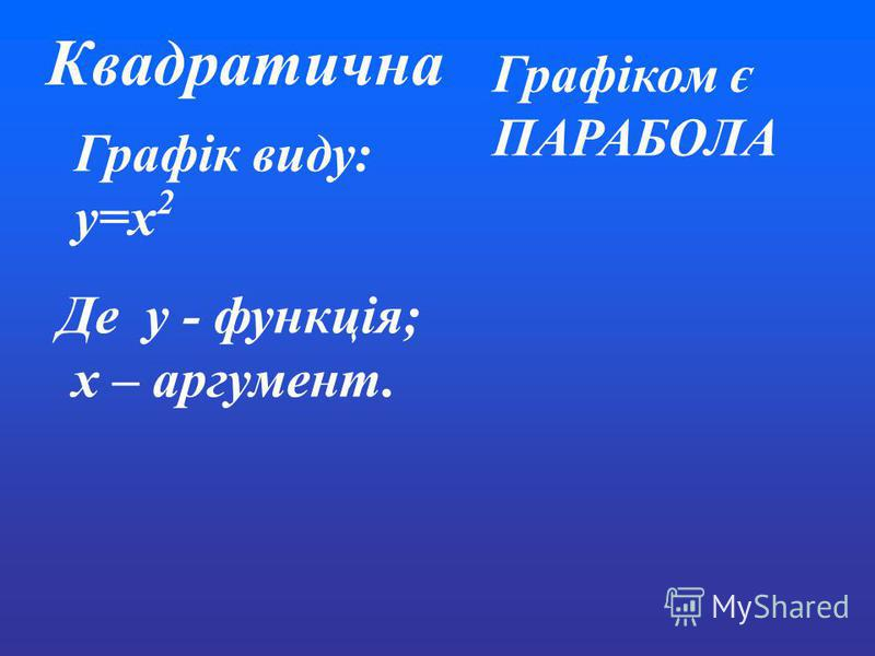 Графік виду: y=x 2 Де y - функція; x – аргумент. Графіком є ПАРАБОЛА Квадратична