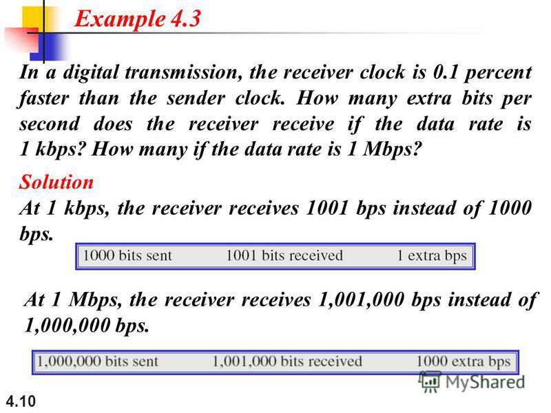 4.10 In a digital transmission, the receiver clock is 0.1 percent faster than the sender clock. How many extra bits per second does the receiver receive if the data rate is 1 kbps? How many if the data rate is 1 Mbps? Solution At 1 kbps, the receiver