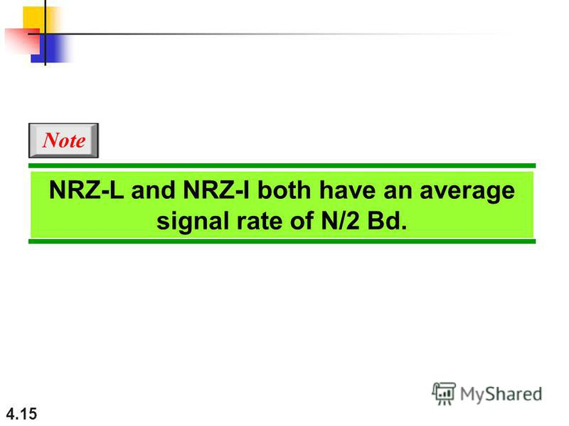 4.15 NRZ-L and NRZ-I both have an average signal rate of N/2 Bd. Note