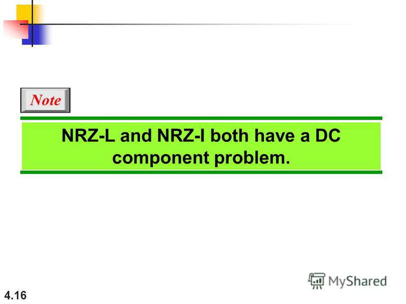 4.16 NRZ-L and NRZ-I both have a DC component problem. Note