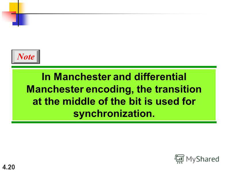 4.20 In Manchester and differential Manchester encoding, the transition at the middle of the bit is used for synchronization. Note