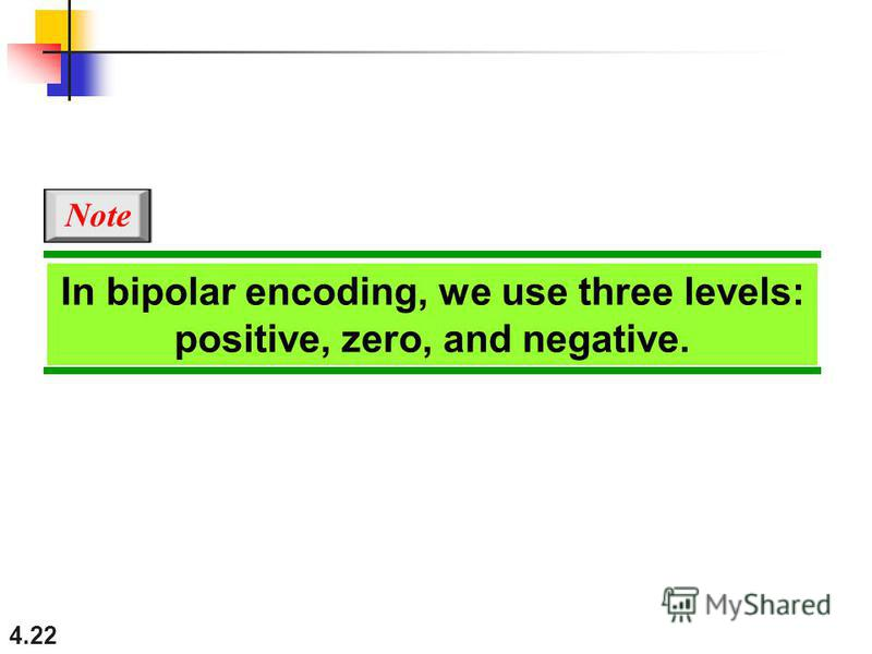 4.22 In bipolar encoding, we use three levels: positive, zero, and negative. Note