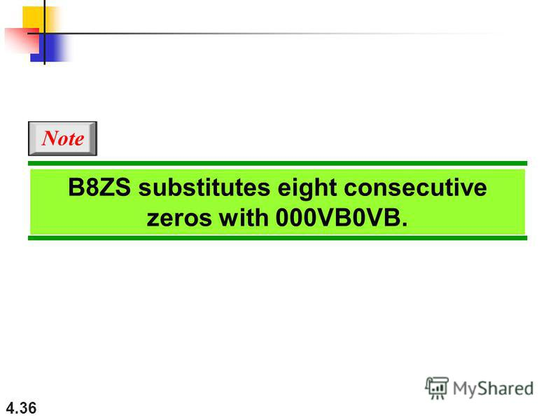 4.36 B8ZS substitutes eight consecutive zeros with 000VB0VB. Note