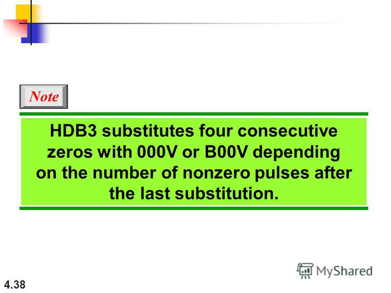 4.38 HDB3 substitutes four consecutive zeros with 000V or B00V depending on the number of nonzero pulses after the last substitution. Note