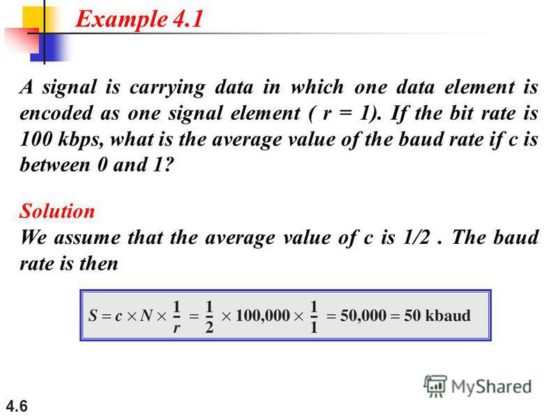 4.6 A signal is carrying data in which one data element is encoded as one signal element ( r = 1). If the bit rate is 100 kbps, what is the average value of the baud rate if c is between 0 and 1? Solution We assume that the average value of c is 1/2.