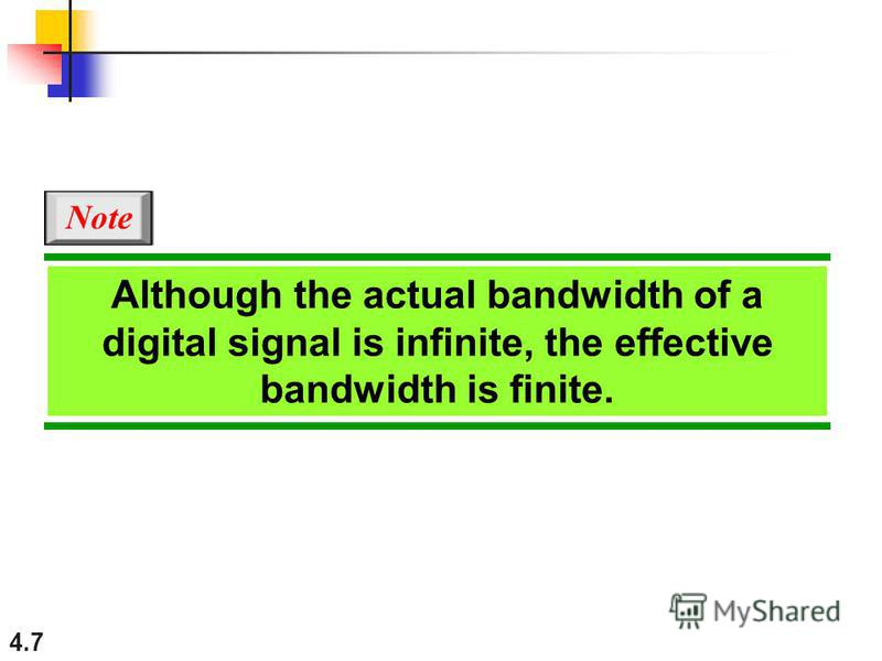 4.7 Although the actual bandwidth of a digital signal is infinite, the effective bandwidth is finite. Note