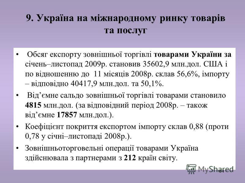 64 9. Україна на міжнародному ринку товарів та послуг Обсяг експорту зовнішньої торгівлі товарами України за січень–листопад 2009р. становив 35602,9 млн.дол. США і по відношенню до 11 місяців 2008р. склав 56,6%, імпорту – відповідно 40417,9 млн.дол.