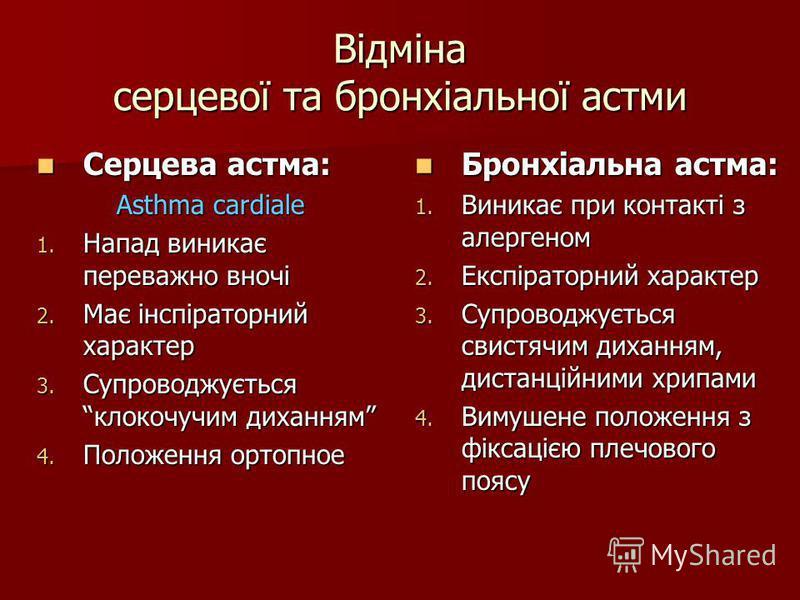 Відміна серцевої та бронхіальної астми Серцева астма: Серцева астма: Asthma cardiale 1. Напад виникає переважно вночі 2. Має інспіраторний характер 3. Супроводжується клокочучим диханням 4. Положення ортопное Бронхіальна астма: Бронхіальна астма: 1.
