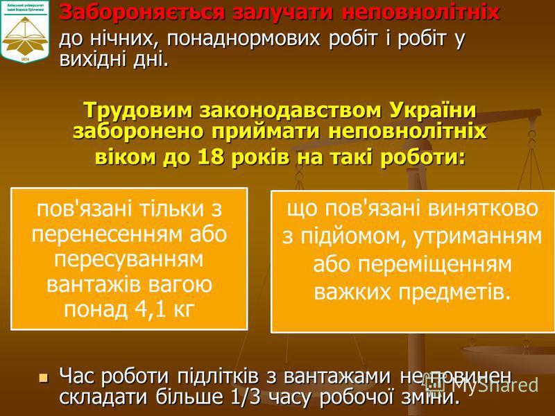 Забороняється залучати неповнолітніх Забороняється залучати неповнолітніх до нічних, понаднормових робіт і робіт у вихідні дні. до нічних, понаднормових робіт і робіт у вихідні дні. Трудовим законодавством України заборонено приймати неповнолітніх ві