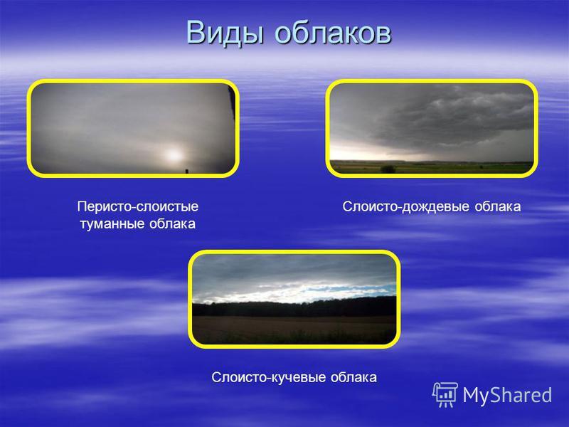 Виды облаков Перисто-слоистые туманные облака Слоисто-дождевые облака Слоисто-кучевые облака