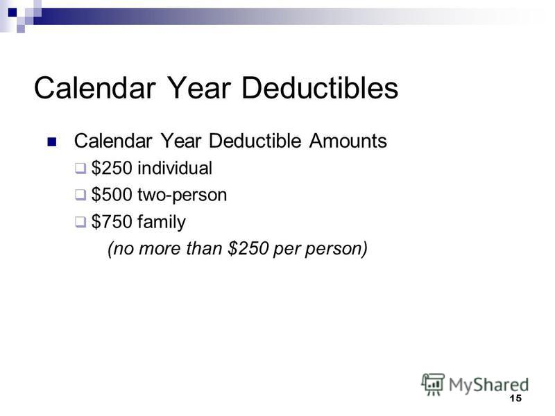 15 Calendar Year Deductibles Calendar Year Deductible Amounts $250 individual $500 two-person $750 family (no more than $250 per person)