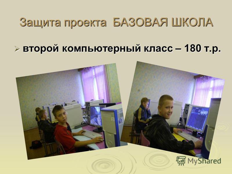 Защита проекта БАЗОВАЯ ШКОЛА второй компьютерный класс – 180 т.р. второй компьютерный класс – 180 т.р.