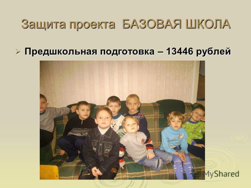 Защита проекта БАЗОВАЯ ШКОЛА Предшкольная подготовка – 13446 рублей Предшкольная подготовка – 13446 рублей