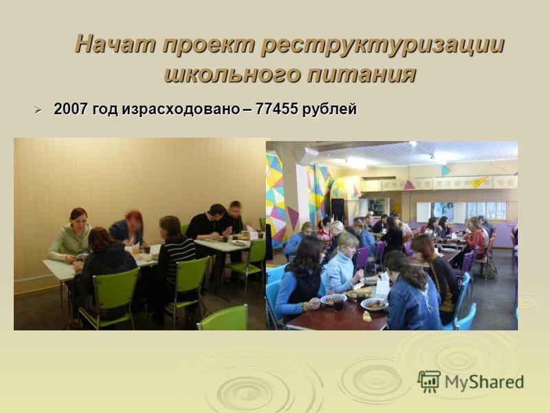 Начат проект реструктуризации школьного питания 2007 год израсходовано – 77455 рублей 2007 год израсходовано – 77455 рублей