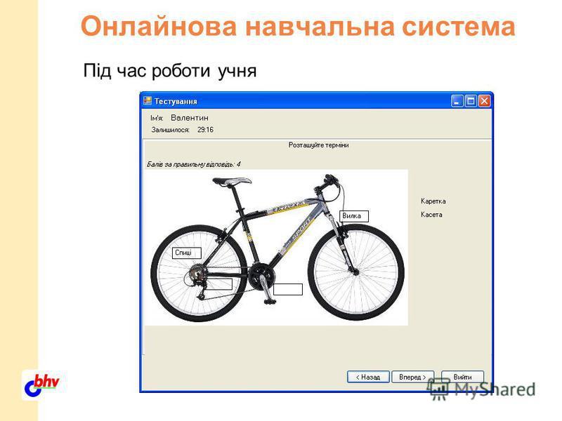 Онлайнова навчальна система Під час роботи учня