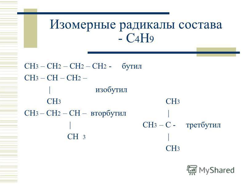 Изомерные радикалы состава - С 4 Н 9 СН 3 – СН 2 – СН 2 – СН 2 - бутил СН 3 – СН – СН 2 – | изобутил СН 3 СН 3 СН 3 – СН 2 – СН – вторбутил | | СН 3 – С - трет-бутил СН 3 | СН 3