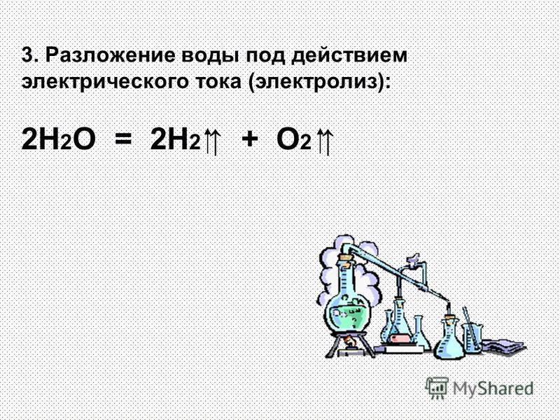 3. Разложение воды под действием электрического тока (электролиз): 2H 2 O = 2H 2 + O 2