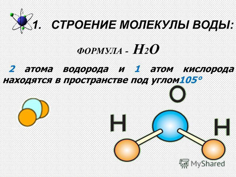 1. СТРОЕНИЕ МОЛЕКУЛЫ ВОДЫ: ФОРМУЛА - Н 2 О 2 атома водорода и 1 атом кислорода находятся в пространстве под углом 105°