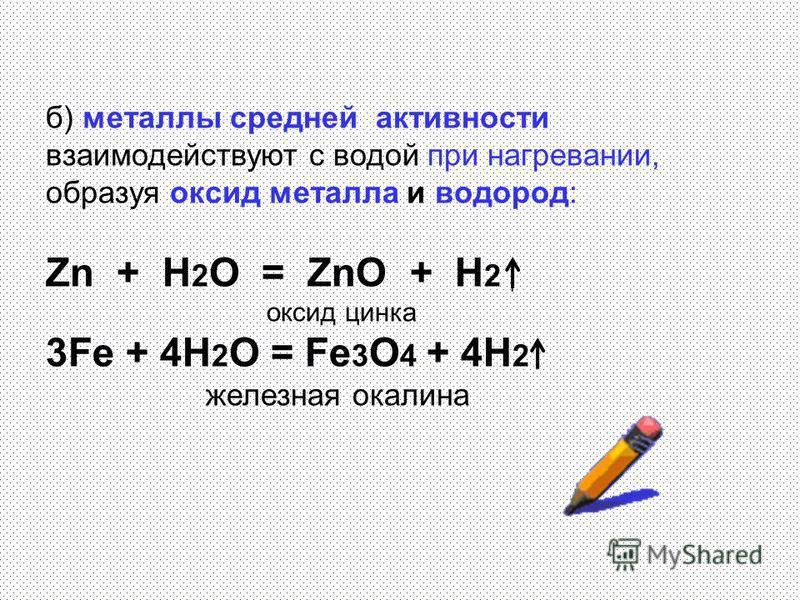 б) металлы средней активности взаимодействуют с водой при нагревании, образуя оксид металла и водород: Zn + H 2 O = ZnO + H 2 оксид цинка 3Fe + 4H 2 O = Fe 3 O 4 + 4H 2 железная окалина