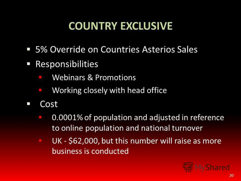 20 5% Override on Countries Asterios Sales Responsibilities Webinars & Promotions Working closely with head office Cost 0.0001% of population and adjusted in reference to online population and national turnover UK - $62,000, but this number will rais