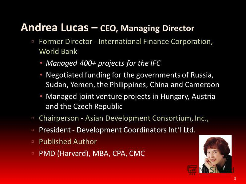 Andrea Lucas – CEO, Managing Director Former Director - International Finance Corporation, World Bank Managed 400+ projects for the IFC Negotiated funding for the governments of Russia, Sudan, Yemen, the Philippines, China and Cameroon Managed joint