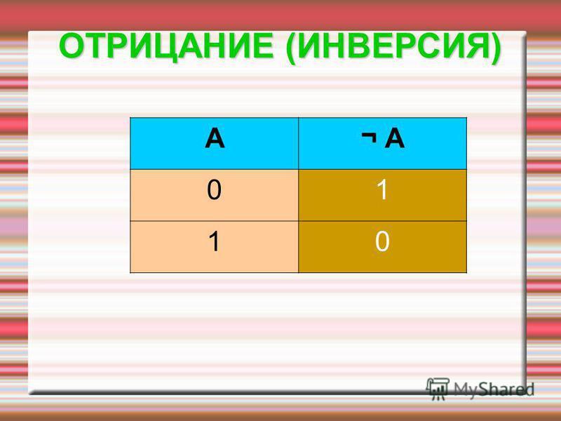 A¬ А¬ А 01 10 ОТРИЦАНИЕ (ИНВЕРСИЯ)