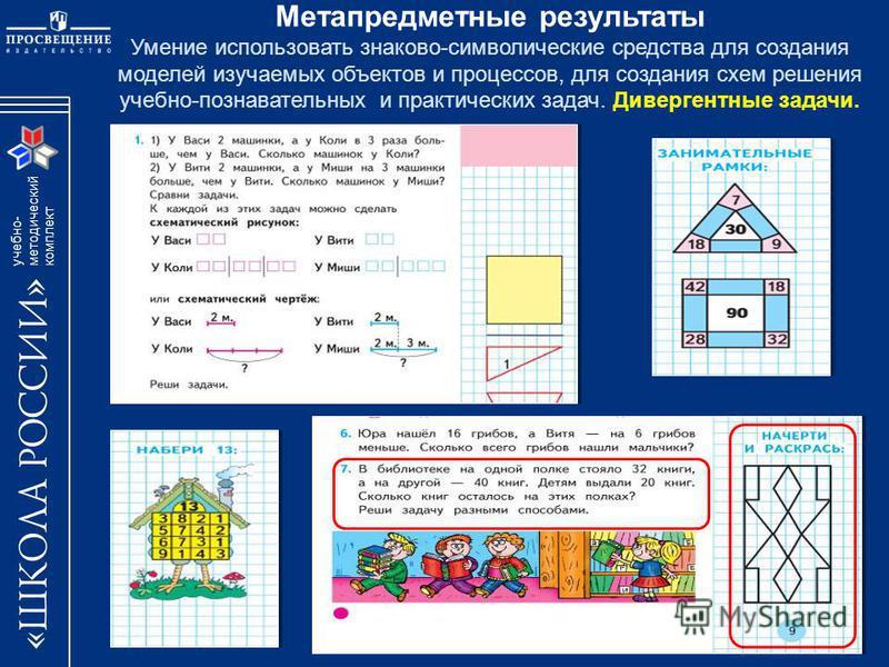 учебно- методический комплект Метапредметные результаты Умение использовать знаково-символические средства для создания моделей изучаемых объектов и процессов, для создания схем решения учебно-познавательных и практических задач. Дивергентные задачи.