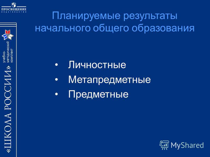 учебно- методический комплект Планируемые результаты начального общего образования Личностные Метапредметные Предметные