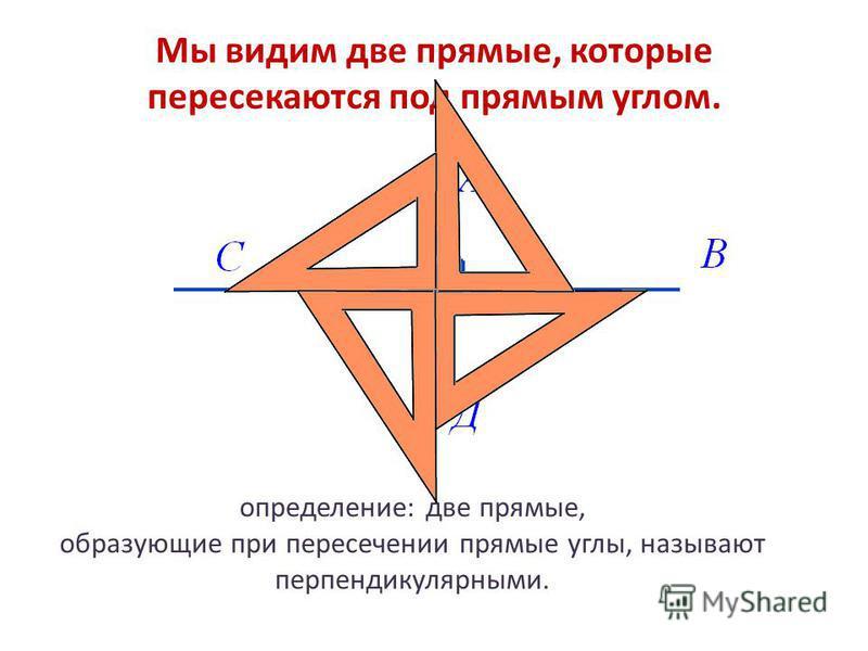 определение: две прямые, образующие при пересечении прямые углы, называют перпендикулярными. Мы видим две прямые, которые пересекаются под прямым углом.