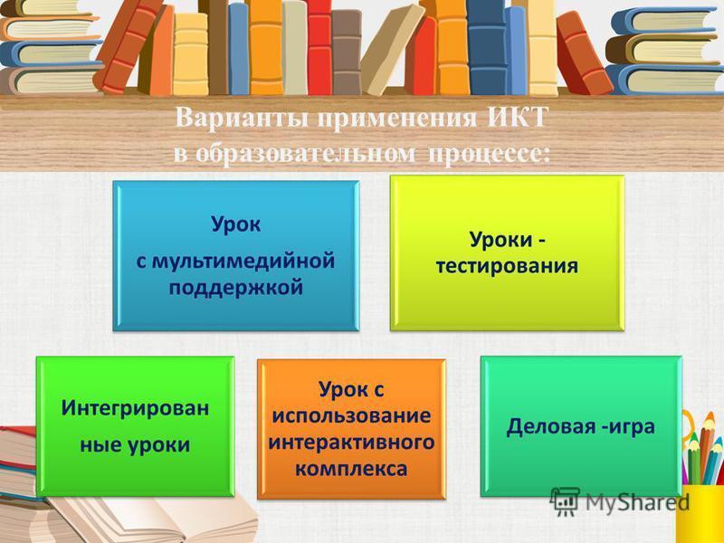 Варианты применения ИКТ в образовательном процессе: