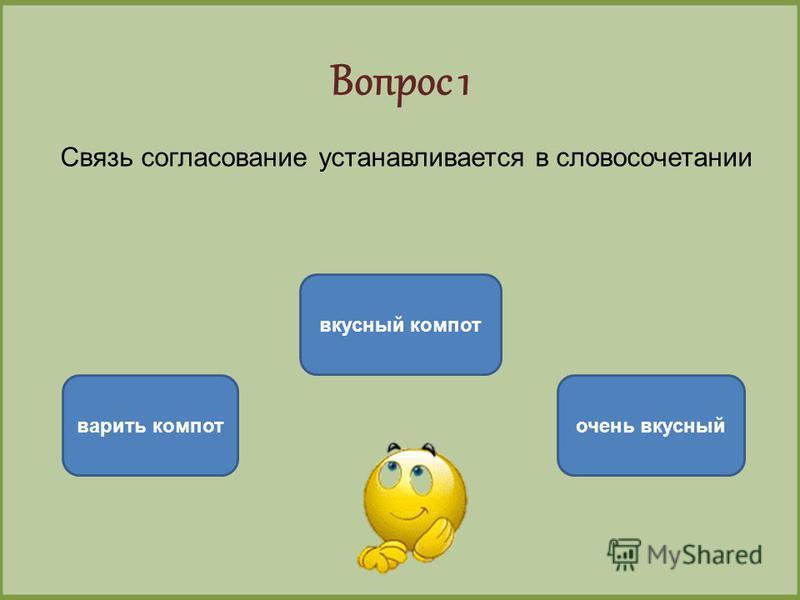Вопрос 1 Связь согласование устанавливается в словосочетании вкусный компот варить компот очень вкусный